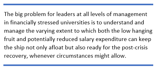 The big problem for leaders at all levels of management in financially stressed universities is to understand and manage the varying extent to which both the low hanging fruit and potentially reduced salary expenditure can keep the ship not only afloat but also ready for the post-crisis recovery, whenever circumstances might allow.